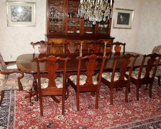 #1 - Henkel-Harris Double Pedestal Mahogany Dining Table with 10 chairs - purchased new in 1992 for over $8,000.