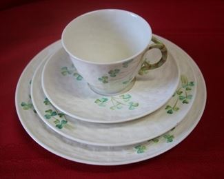 "$225. Belleek, 16 piece ""Basket Weave"". Blue stamp. Cup and saucer, tea plate and salad plate."