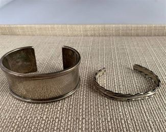 Pair of Cuff Bracelets Silver Plate Markings on Engraved Cuff