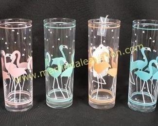 Vintage flamingo highball glassses