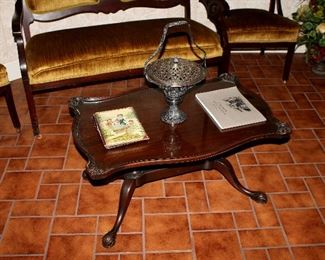 Vintage glass -top coffee table, silverplate basket, Victorian photo album