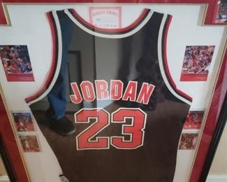 """Lot 1    Framed Michael Jordan Jersey, Cards, and Pins - About 36""""x30""""    $400"""