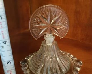 Lot 7   Vintage Perfume Bottle  Ground Stopper  With Underplate    $25