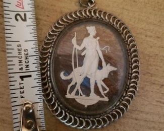 Lot 16   Signed Sterling Silver and Jasper or Ivory Pendant  $20