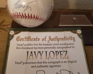 Lot 32   Javy Lopez signed baseball with COA    $30