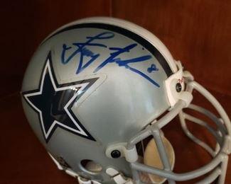 Lot 35   Autographed Troy Aikman Mini Helmet  $50