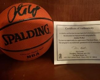 Lot 40   Autographed Antoine Walker Mini Basketball with COA from ScoreBoard    $25