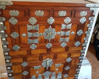 Lot 50    Wonderful  Antique Korean Nickle Silver Mounted Chest  Hidden compartments and drawers - Age Crack on top otherwise superb condition. Following photos show dimentions   $ 1,750 or best offer