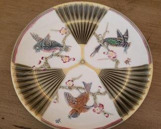 Lot 75   Wedgewood Majolica Bird and Fan Plate  $50