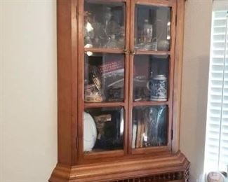 Lot 80   Antique Stick and Ball Hanging Corner Cabinet You Take Down    $350