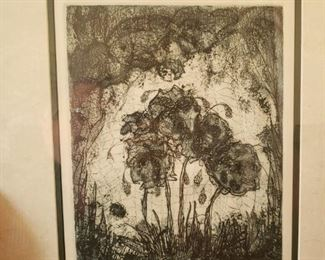 Lot 88  Rare Mary Lou Hess Intaglio Etching. Most are very small at 3-5 inches. This is one of her earliest and largest. Only 15 made.  $150