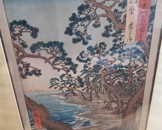 Lot 101   Original and Authentic Hiroshige Woodblock Print. Image size about 15x10 Framed about 24x16  $200