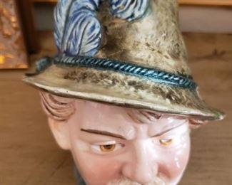 """Lot 113  German Porcelain Tobacco Jar  6""""   $75"""