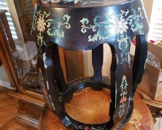 Lot 125   Asian Enameled Wood Garden Seat Shows Wear    $40