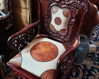 Lot 126   Heavily Carved Korean Chair Leather Pillow and Insert   $150