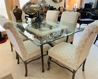 Very Heavy Iron, Marble and Glass Dining Table and Chairs