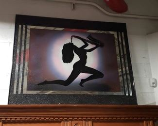 5'W x 4'H  Nude lady playing saxophone Signed by William Call