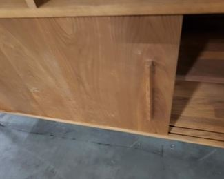 """5' Mid Century solid wood bookcase with sliding door under cabinets Approx 5' x 68""""H $1995"""