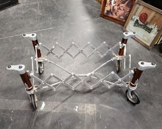 RARE Vintage Edwards brand Casket Stand Roller Old Funeral Embalming Coffee Table (as shown no glass) $995