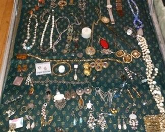 Large collection of Sterling silver jewelry and Costume Jewelry.