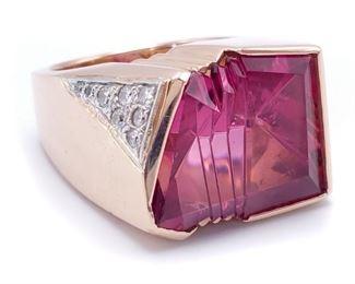 Men's Custom Tourmaline and Diamond Estate Ring in Gold