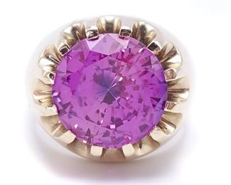 Men's Custom Color Changing Pink Sapphire in Heavy Gold