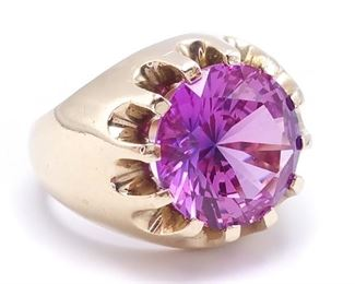 Men's Custom Color Changing Pink Sapphire Ring in Heavy Gold