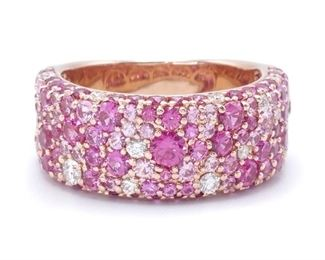 Pink Sapphire and Diamond Ring in 14k Rose Gold