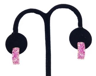 Pink Sapphire and Diamond Earrings in 14k Rose Gold