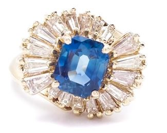 Sapphire and Diamond Estate Ring in 14k Gold