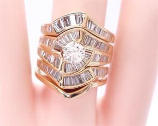 3+ Carat Diamond Estate Ring in 14k Gold