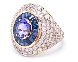 Fabulous ~3.85 Carat Custom Made Estate Ring; Natural Blue & White Sapphire and Tanzanite in Yellow Gold - $5750