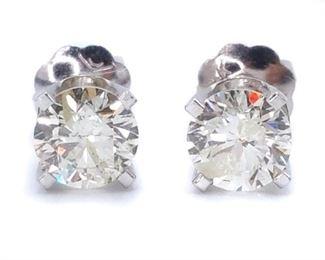 .90 Carat Diamond Stud Screwback Earrings
