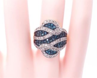 ~2 Carats of Stunning Vivid Blue and White Diamond Estate Ring in 14k Yellow Gold - $5000