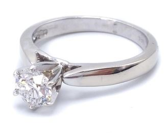 Beautiful ~.75 Carat Ladies Tiffany Style Solitaire Estate Ring in 14k White Gold - $2950