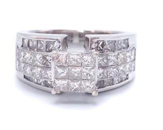 2+ Carat Invisible Set Diamond Estate Ring in Heavy 14k White Gold - $4250