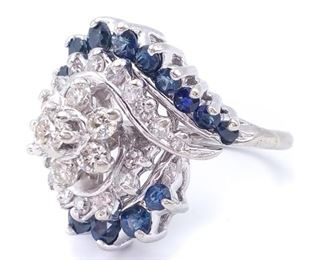 1 1/2+ Carat Diamond and Sapphire Cluster Estate Ring in 14k White Gold - $4999
