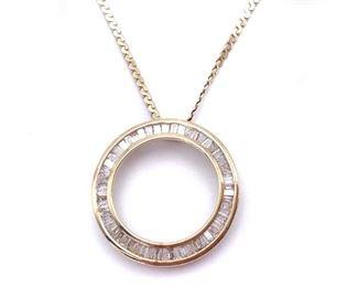 Elegant and Modern Diamond Estate Circle Necklace in 14k Yellow Gold - $2875
