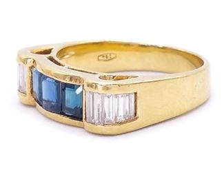 Modern Natural Sapphire and Diamond Estate Ring in Heavy 18k Yellow Gold - $4650