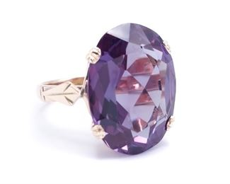 Immaculate and Large 13.25 Carat Color Changing Alexandrite Custom Estate Ring in 14k Yellow Gold