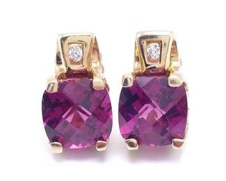 Impressive Tourmaline and Diamond Estate Earrings in 14k Yellow Gold - $1650
