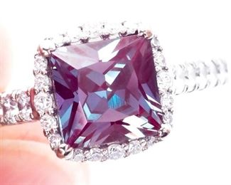 ~2.45 Carat Tacori Signed Alexandrite and Diamond Estate Ring in 18k White Gold