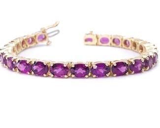 Dazzling ~25 Carat Raspberry Garnet Estate Bracelet in Heavy 14k Yellow Gold - $2550