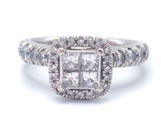 Brilliant 1 Carat Diamond Halo Estate Ring in 14k White Gold - $3895