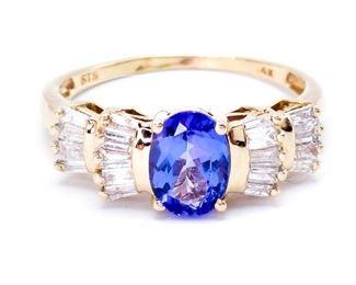 Gorgeous Tanzanite and Diamond Estate Ring in 14k Yellow Gold - $2225