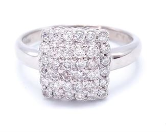 Brilliant 18k Gold Diamond Cluster Estate Ring - $2250