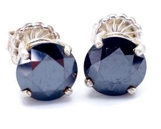 ~3.4 Carat Black Diamond Stud Estate Earrings