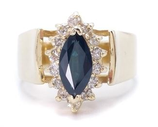 ~1.35 Carat Blue Sapphire and Diamond Estate Ring in a Heavy 14k Gold Cathedral Setting - $3199
