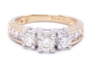 1 Carat Past, Present, and Future Diamond Estate Ring in 14k Yellow Gold - $4750