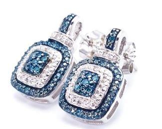 Beautiful David Yurman Style Blue and White Diamond Estate Earrings - $1800